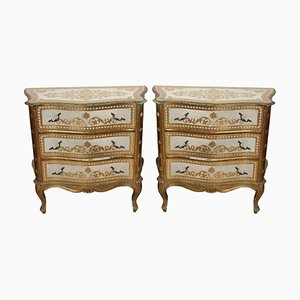 Italian Serpentine Fronted Chest of Drawers, 1960s, Set of 2