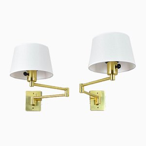Brass Swing Arm Sconces by George W Hansen for Metalarte, 1970s, Set of 2