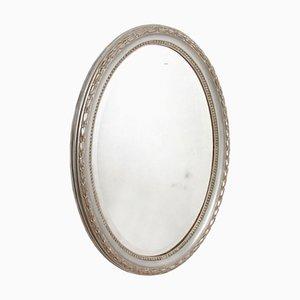 Französischer Ovaler Spiegel mit Silberblattrahmen, 1800er