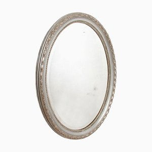 French Silver Leaf Oval Mirror, 1800s