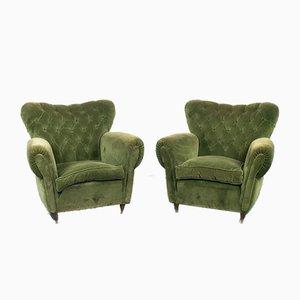 Vintage Sessel aus Holz & grünem Samt, 1950er, 2er Set