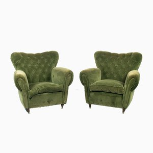 Vintage Wood & Green Velvet Lounge Chairs, 1950s, Set of 2
