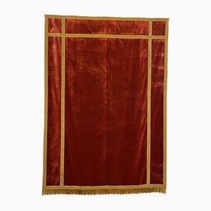Antique Italian Red Silk Velvet Altar Back, 1800s