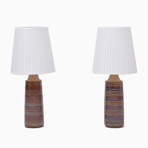 Danish Handmade Ceramic Table Lamps from Søholm, 1960s, Set of 2