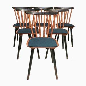 Chaises de Salon Stick Back Mid-Century avec Revêtements Bleu Pétrole, Set de 6