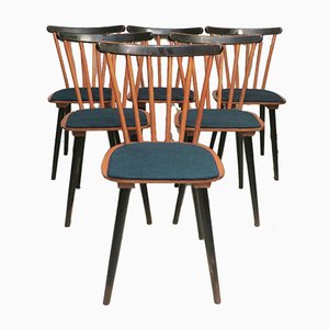 Mid-Century Stick Back Dining Chairs with Petrol Blue Covers, Set of 6