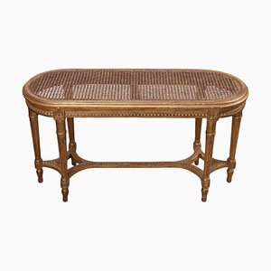 Small Antique French Cane and Giltwood Bench, Early 1900s
