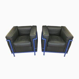Vintage Leder LC2 Sessel von Le Corbusier für Cassina, 2er Set