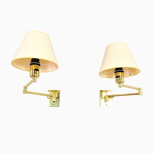 Brass Swing Arm Sconces by George W Hansen for Metalarte, 1980s, Set of 2
