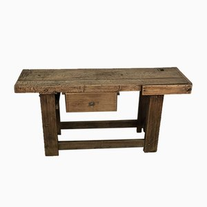 Solid Oak Workbench or TV Stand, 1920s