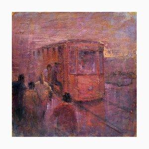 Renato Criscuolo, Il Treno, Öl auf Leinwand