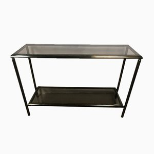 Vintage Oxidized Brass & Smoked Glass Console Table, 1950s
