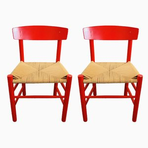 Danish J39 Dining Chairs by Børge Mogensen, 1970s, Set of 2
