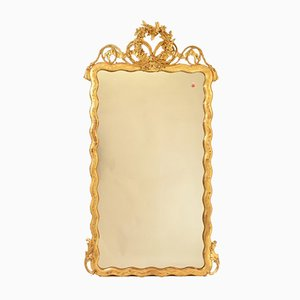 Antique Rectangular Mirror with Gold Leaf Frame & Bow Of Love, 19th Century