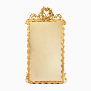 Miroir Rectangulaire Antique avec Cadre en Feuille d'Or et Arc d'Amour, 19ème Siècle