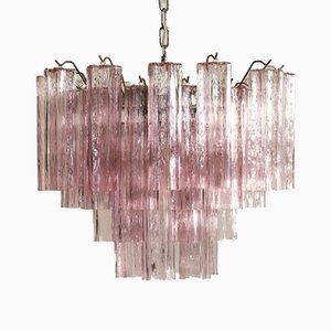 Italian Pink Murano Glass Tube Chandelier, 1989