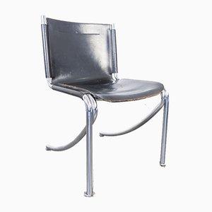 Leder & Metall Esszimmerstühle von Giotto Stoppino für Acerbis, 1970er, 4er Set