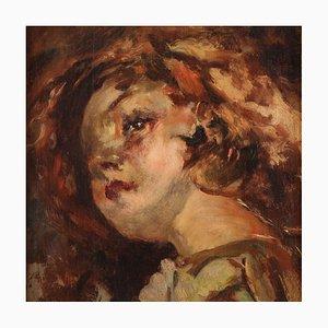 Portrait d'une Petite Fille, Huile Sur Panneau