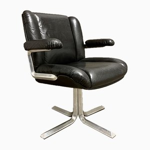 Black Leather & Aluminium Lounge Chair, 1960s