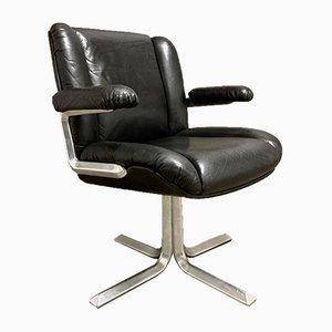 Schwarzer Leder & Aluminium Sessel, 1960er