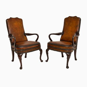 Georgian Style Leather Armchairs, 1930s, Set of 2