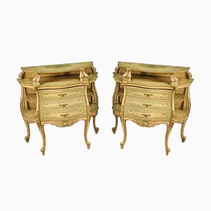 Venetian Lacquered, Gilded & Painted Sideboards, 1970s, Set of 2