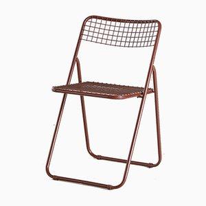 Silla plegable Ted Net marrón de Niels Gammelgaard para Ikea, años 70