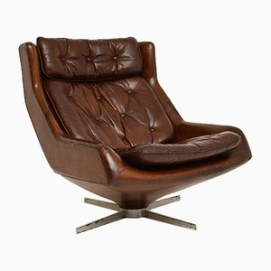 Mid-Century Leather & Chrome Swivel Lounge Chair, 1960s