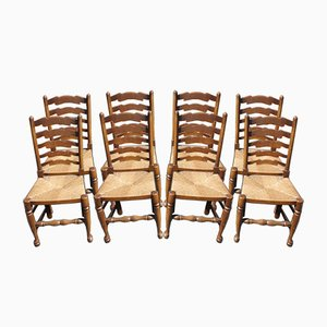 Oak Ladder Back Dining Chairs with Rush Seats, 1940s, Set of 8