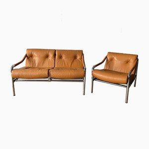 Mid-Century Chrome & Leather Kadia 2-Seater Sofa & Armchair Tim Bates for Pieff, Set of 2