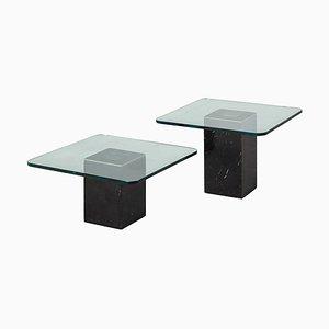 Tables Basses Carrées Vintage avec Plateau en Verre, 1970s, Set de 2