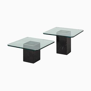 Vintage Square Coffee Tables with Glass Top, 1970s, Set of 2