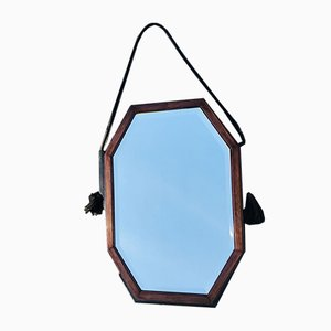 Art Deco Amsterdam School Faceted Mirror with Wooden Frame, 1930s