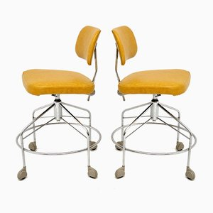 Vintage Danish Leather Swivel Draughtsman Chairs from Danflex, 1960s, Set of 2