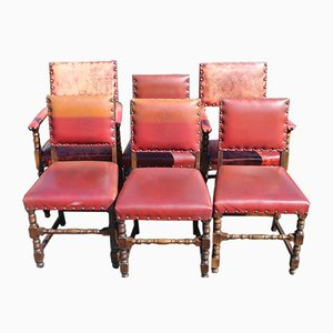 Oak & Red Leather Dining Chairs, 1920s, Set of 6