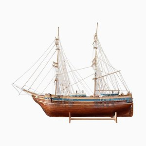 Handmade Wooden Model Ship, 1920s
