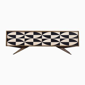 Mid-Century Scandinavian Birch Sideboard with Hand-Painted Pattern, 1960s