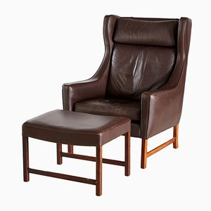 Rosewood & Leather 965H Reading Armchair & Ottoman by Fredrik A. Kayser for Vatne Møbler, 1960s, Set of 2