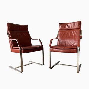 Mid-Century Leather & Chrome Cantilever Armchairs, Set of 2