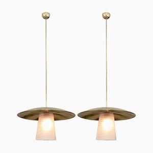 Lampade da soffitto in ottone e vetro di Stilnovo, Italia, anni '50, set di 2
