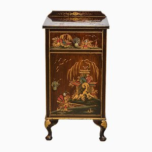English Chinoiserie Decorated & Gilt Bedside Cabinet, 1920s