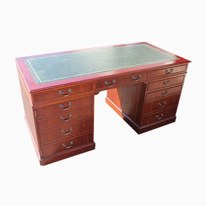 Mahogany Pedestal Desk with Green Leather Inset, 1960s