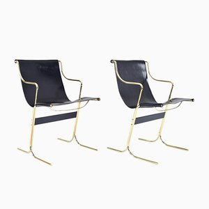 Italian Leather & Brass Cigno Chairs by Ross Littell & Douglas Kelley for ICF De Padova, 1960s, Set of 2