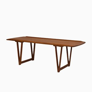Mid-Century Danish Teak Coffee Table with V Shape Supports & Lipped Top Edge, 1960s
