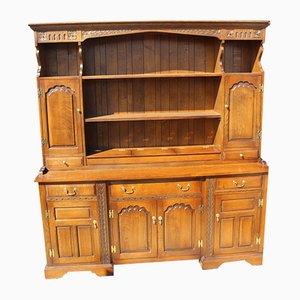 Large Charm Style Oak Cabinet with Display Rack, 1960s