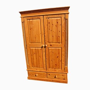 Country Pine 2-Door Wardrobe with 2 Drawers, 1960s