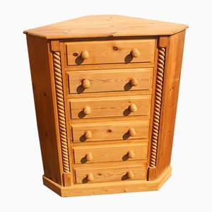 Country Pine Corner Chest of Drawers, 1960s
