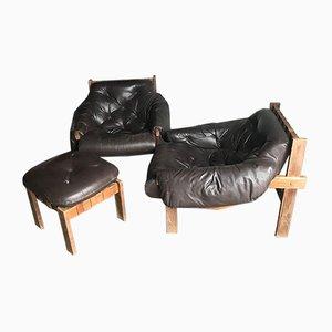Mid-Century Brown Tufted Leather Armchairs & Ottoman in the Style of Percival Lafer, 1960s, Set of 3