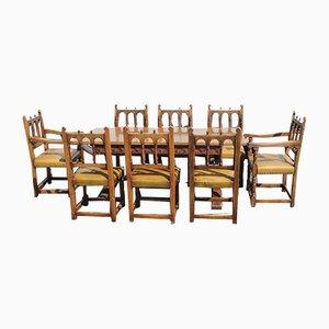 Ipswich Oak Finish Refectory Dining Table & Oak Chairs Set, 1960s, Set of 9