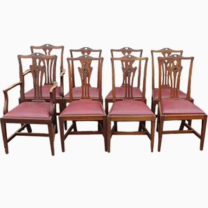 Antique Mahogany Dining Chairs with Pop Out Seats, 1900s, Set of 8